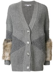 Stella Mccartney Fur Trimmed Cardigan Women Silk Modacrylic Polyamide Virgin Wool 36 Grey