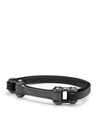 David Yurman Anvil Narrow Black Leather Id Bracelet Black Silver