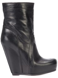 Rick Owens Pull On Wedge Boots Women Calf Leather Leather Rubber 38.5 Black