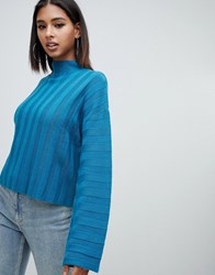 Missguided High Neck Wide Sleeve Jumper In Blue