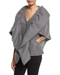 Milly Statement Double Face Wool Blend Cape Jacket Charcoal