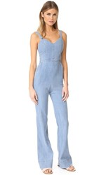 Alice Olivia Cristal Wide Leg Overalls Light Chambray