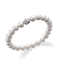 Charter Club Silver Tone Imitation Pearl And Fireball Stretch Bracelet