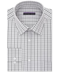 Geoffrey Beene Men's Tall Bedford Cord Classic Fit Silver Check Dress Shirt Metal