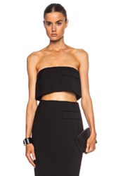 Josh Goot Cropped Strapless Viscose Blend Top In Black