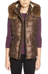 Women's Bernardo Hooded Down Vest With Faux Fur Trim