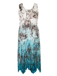 Chesca Printed Ombre Crush Pleat Dress White