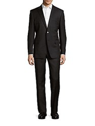 Versace Classic Fit Solid Wool Suit Dark Grey