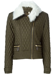 Burberry Brit Shearling Collar Quilted Jacket Green