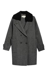 Trina Turk Briana Plaid Coat With Detachable Genuine Lamb Fur Collar Charcoal Tweed