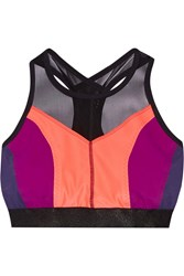 Monreal London Hi Energy Mesh Trimmed Stretch Jersey Sports Bra Coral