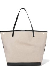 The Row Park Xl Leather Trimmed Canvas Tote Neutral