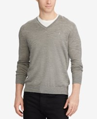 Polo Ralph Lauren Men's V Neck Merino Wool Sweater Metallic Grey Heather