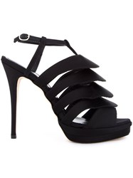 Jerome Rousseau 'Quorra' Satin Evening Sandals Black