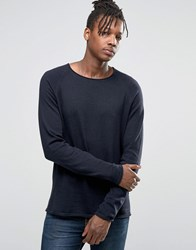 Jack And Jones Knitted Crew In Raw Neck Navy
