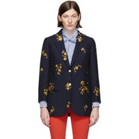 Gucci Navy Floral Fil Coupe Blazer