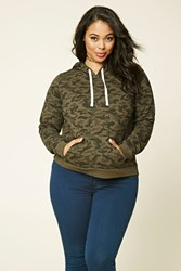 Forever 21 Plus Size Camo Print Hoodie Charcoal Grey