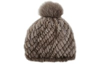 Barneys New York Mink And Fox Fur Beanie Neutral