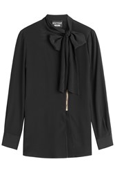 Boutique Moschino Zipped Blouse With Bow At Neck Black