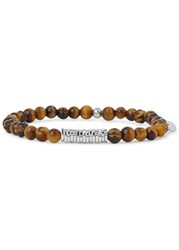 Tateossian Tiger Eye Beaded Bracelet Brown