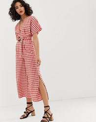 Moon River Gingham Jumpsuit Red