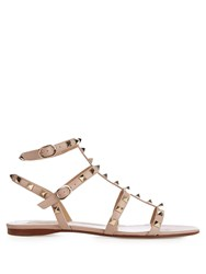 Valentino Rockstud Leather Flat Sandals Nude
