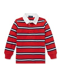 Ralph Lauren Long Sleeve Striped Rugby Top Size 5 7 Red