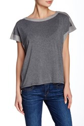 Democracy Faux Suede Trim Oversize Tee Gray