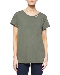 Rta Denim Rhinestone Jersey Tee W Distressing Army Green