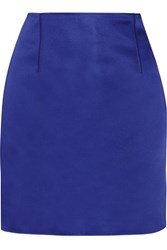 Acne Studios Lidia Asymmetric Duchesse Satin Mini Skirt Royal Blue
