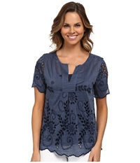 Dylan By True Grit Daydream Blouse Cotton And Silk Eyelet Vintage Indigo Women's Blouse Black