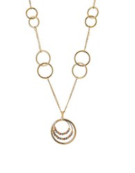 Lord And Taylor 14K Yellow Gold Circle Linked Pendant Necklace