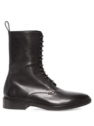 Balenciaga Lace Up Leather Boots Black