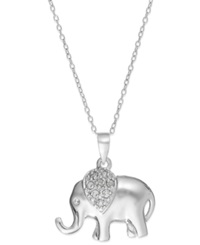 Macy's Diamond Elephant Pendant Necklace In Sterling Silver 1 10 Ct. T.W.