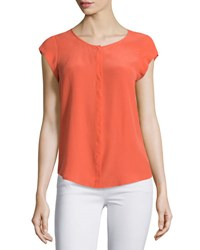 Joie Iva Cap Sleeve Silk Blouse Live Coral