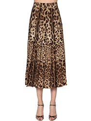 Dolce And Gabbana Leopard Pleated Wool Crepe Long Skirt Multicolor