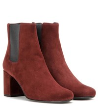 Saint Laurent Babies 70 Suede Ankle Boots Red
