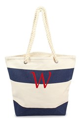 Cathy's Concepts Personalized Stripe Canvas Tote Blue Navy W