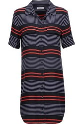 Equipment Femme Slim Signature Striped Washed Silk Mini Dress Black
