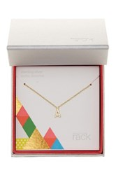 Nordstrom Rack Gold Plated Sterling Silver Pave Cz 'A' Initial Pendant Necklace Metallic