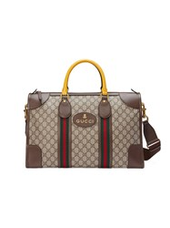 Gucci Soft Gg Supreme Duffle Bag With Web Men Cotton Leather Nylon Canvas One Size Nude Neutrals