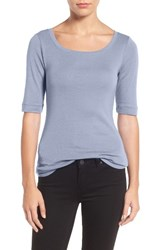 Caslonr Women's Caslon Ballet Neck Cotton And Modal Knit Elbow Sleeve Tee Blue Kentucky