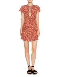 Tomas Maier Short Sleeve Aster Print Romper Red Pattern