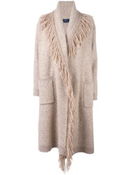Polo Ralph Lauren Fringed Single Breasted Coat Nude And Neutrals