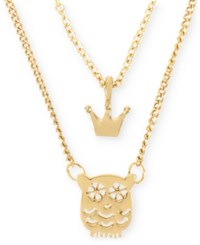 Betsey Johnson Gold Tone Crown And Owl Double Pendant Necklace