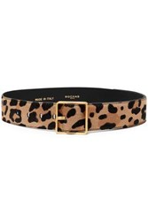 Rochas Woman Leopard Print Calf Hair Belt Animal Print