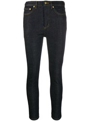 Victoria Beckham High Rise Cropped Skinny Jeans Blue