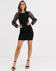Pieces Round Neck Mini Dress With Sheer Volume Sleeves Black
