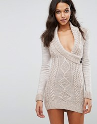 Lipsy Aran Knitted Dress With Wrap Front Oatmeal Stone