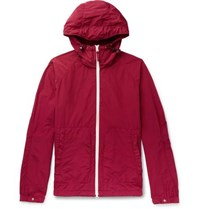 Aspesi Garment Dyed Shell Hooded Jacket Red